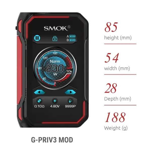 Smok G-PRIV3 Mod Dimensions